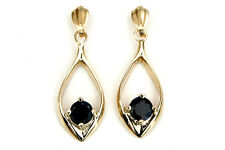 9ct Gold Sapphire Open Drop dangly earrings Made in UK Gift Boxed