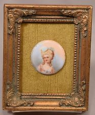 Antique Painting on Porcelain Plaque Elegant Lady with Pearl Necklace