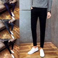 UK Men's Slim Fit Skinny Stretch Straight Elastic Denim Pants Jeans Trousers