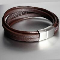 New Men Leather Stainless Steel Magnetic Clasp Braided Wristband Bracelet Bangle