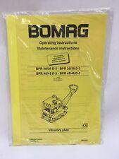Bomag BPR 30 35 38 40 45 D-3 OPERATION MAINT. MANUAL Plate Compactor Vib HATZ
