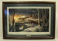 Terry Redlin ''Almost Home'' Etched Framed Oak Signed Numbered 2872/29500 W/ COA