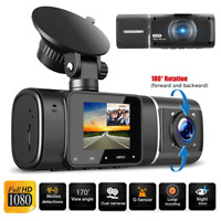 Dual Lens Front & Inside Camera HD Car DVR Dash Cam Video Recorder Night Vision-