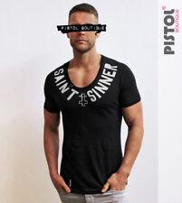 Pistol Boutique Black Scoop neck SAINTS SINNER cross fashion tshirt SALE Small