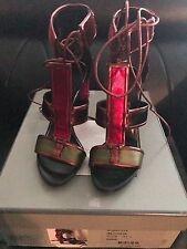 Auth NIB TOM FORD Patchwork Cage Sandals Metallic Velvet Strappy Heels sz 371/2