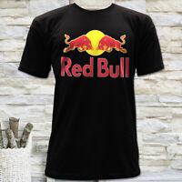 ENERGY DRINK RACING BULL LOGO MEN'S BLACK SHORT SLEEVE T-SHIRT SIZE S M L XL