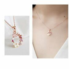 Fashion Womens Garland Butterfly Flowers Pendant Necklace Crystal Shell Chain