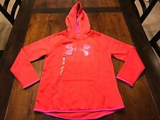 Youth Under Armour Cold Gear Printed Big Logo Hoodie Size Large Pomegranate