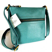 "FOSSIL EXPLORER MINI LEATHER CROSSBODY ""TEAL GREEN""  NWT!"