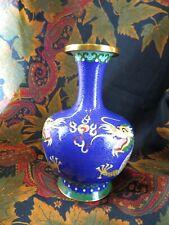 ancien vase émaillé bronze cloisonné epok 1960 chinois decor dragons