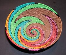 """African Zulu Telephone Wire Basket or Bowl Colorful Handmade 5.5"""""""