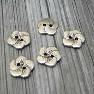 """HIBISCUS Metal Buttons 15mm Antique Silver Hawaiian Flower 5/8"""" Qty 4 to 12"""