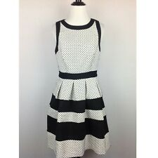 Elle Dress Womens 4 Textured Polka Dot Black White Stripe