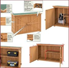 Outdoor Storage Shed Wood Toolshed Wooden Two Door Garage Cabinet Yard Garden