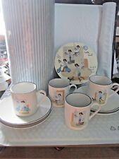 Latte Girl Set Of 4 Espresso Cups & Saucers In Storage Box CIB Brand NIB