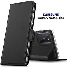 COVER per Samsung Galaxy Note10 Lite CUSTODIA PORTAFOGLIO PELLE Nero Card Slots
