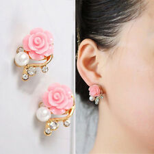 New Fashion Gold Plated Rose Flower Pearl Stud Earrings For Girls/Women