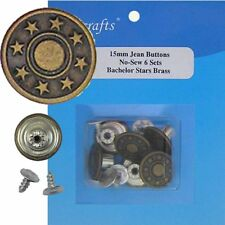 15 mm No-Sew Replacement Jean Tack Buttons (15A36)  6 CT.