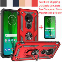 For Motorola Moto G7 Plus/Power/Supra/Play Magnetic Ring Stand Rugged TPU Case