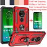 For Motorola Moto G7 Plus/Power/Supra/Play Armor Case+Magnetic Ring Holder Stand