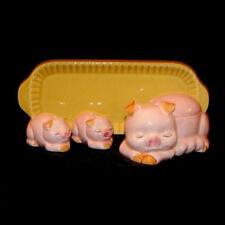 Vintage PIG BUTTER DISH, JAM JAR, SALT & PEPPER Set - Pink Piggy