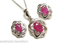 9ct White Gold Celtic Ruby Pendant and Earring Set Gift Boxed Made in UK