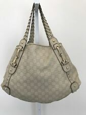 GUCCI MYSTIC WHITE GUCCISSIMA LEATHER PELHAM SHOULDER BAG GOLDTONE HARDWARE