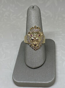 10K Solid Yellow Gold Lion King Men's Ring