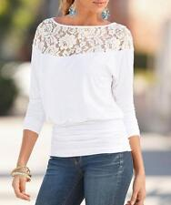 Fashion Summer Womens Loose Casual Long Sleeve Lace Shirt Blouse Ladies Tee Tops