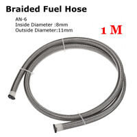 AN-6 AN6 8mm 5/16'' Pipe Braided Oil Fuel Coolant Hose Line Stainless Steel 1M