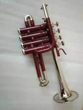 NEW RED SILVER N/P Bb/A PICCOLO TRUMPET+FREE HARD CASE+MOUTHPIECE