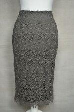 MARKS & SPENCER M&S Khaki green lace crochet knee length pencil skirt 8