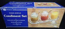 Clear Acrylic Condiment Set Covered 3oz Jars Spoons Tray Vtg 1992 Retro Server