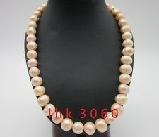 """real natural south sea baroque 12-13mm pink pearl necklace 20"""" 14k yellow clasp"""
