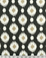 Drapery Upholstery Fabric Southwestern Ikat Polka Dot 100% Cotton - Black