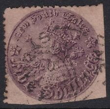 1860 Series NSW New South Wales T.H. Levinge QV 5/- Purple Coin Used   REF: LV03