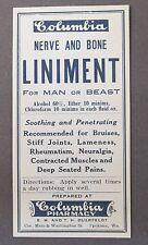1930's NERVE & TONIC LINAMENT paper label COLUMBIA Pharmacy SPOKANE Washington
