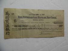 1928 Hong Kong Check National City Bank of New York Chinese Vintage Original