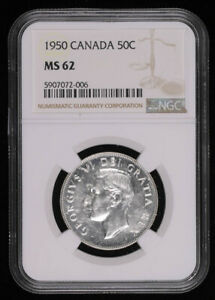 1950 CANADA SILVER HALF DOLLAR COIN NGC MS62 **WITH DESIGN**