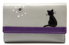 MALA Leather Cat Purse Grey Ladies Tri Fold Coin Card Holder Wallet Purses RFID