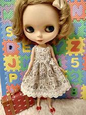 Blythe Doll Outfit Flower Print Beige Dress