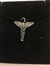 Caduceus R107 English Pewter Emblem on a Black Cord Necklace Handmade