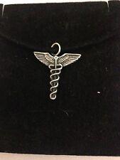 Caduceus R107 English Pewter Emblem on a Black Cord Necklace Handmade