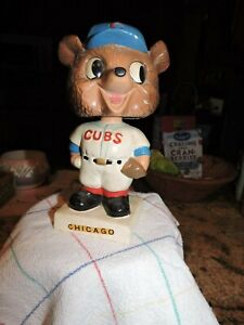 VINTAGE CHICAGO CUBS CUBBY BEAR MASCOT BASEBALL PITCHER BOBBLEHEAD NODDER 1960's