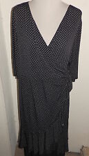 4 4x Kiyonna Womens Plus Size Black White Polka Dot Ruffle Stretch Wrap Dress