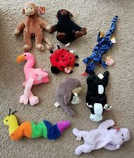 Lot Of (9) RETIRED Ty Beanie Babies W/PVC Pellets (No Tag On Inch)