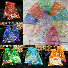 50pcs Moon Star Organza Gift Bags Wedding Jewellery Candy Pouches 4 Sizes