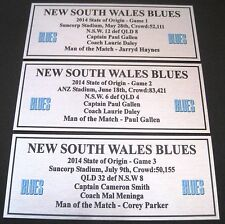 NRL NSW  State of Origin 2014 set of 3 games  Silver  Plaque FREE POSTAGE