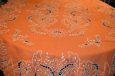 Linge de Maison ancien : Jolie Nappe Orange en Lin ou Coton broderies et jours