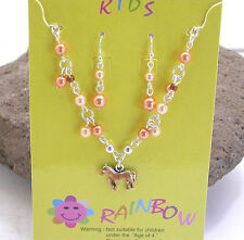 HORSE & WESTERN JEWELLERY JEWELRY KIDS GIRLS PONY NECKLACE AND EARRINGS SET